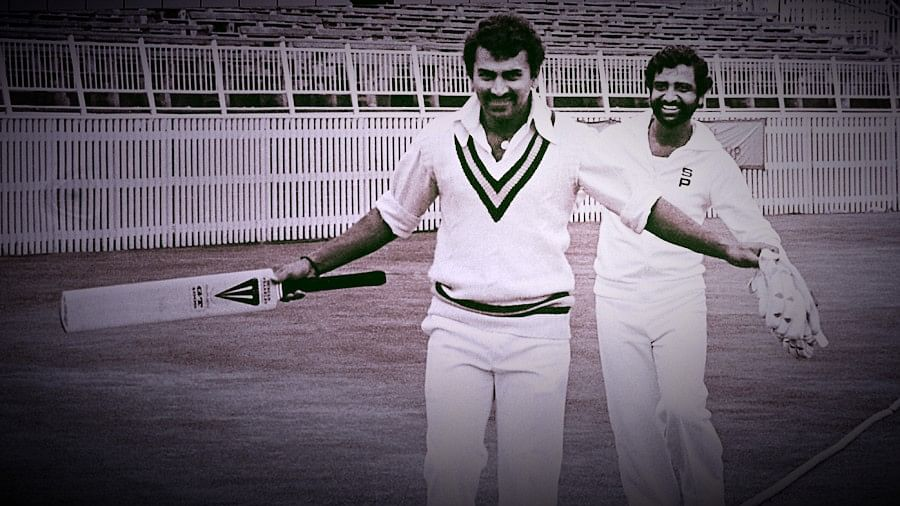 Sunil Gavaskar and Gundappa Viswanath during the first Test between India and England at Edgbaston in 1979.