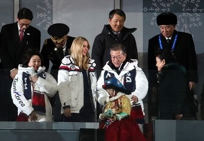 Pyeongchang: South Korean President Moon Jae-in (2nd from R) encounters Ivanka Trump, the U.S. president