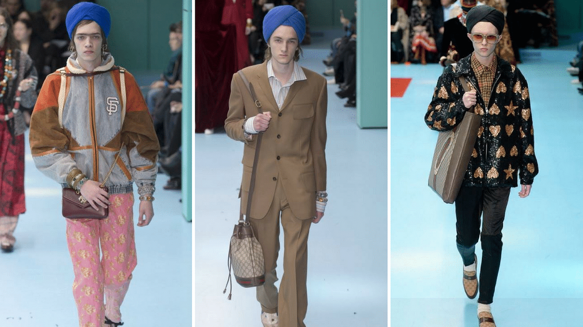 White models with turbans worn like followers of Sikh religion.