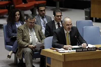 UNITED NATIONS, Feb. 22, 2018 (Xinhua) -- Syrian Ambassador to the United Nations Bashar Ja