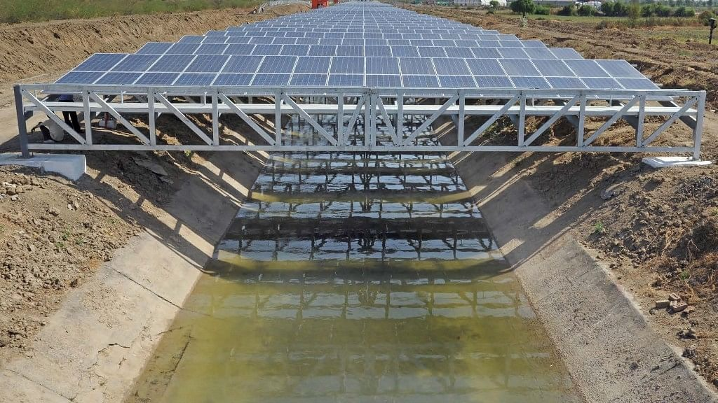 The Narmada canal which passes through Vadodara has solar panels placed as a cover to protect the water from evaporation, while generating solar power.