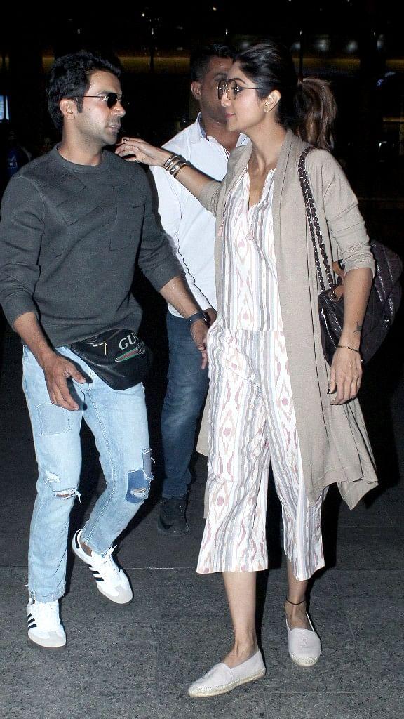 Rajkummar Rao and Shilpa Shetty outside Anil Kapoor's house.