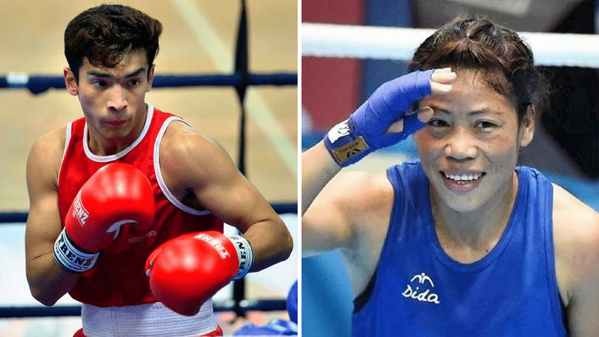 File picture of Shiva Thapa (left) and M C Mary Kom
