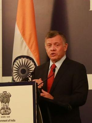 New Delhi: King of Jordan Abdullah II bin Al-Hussein addresses during India Jordan Business Forum in New Delhi on Feb 28, 2018. (Photo: Amlan Paliwal/IANS)