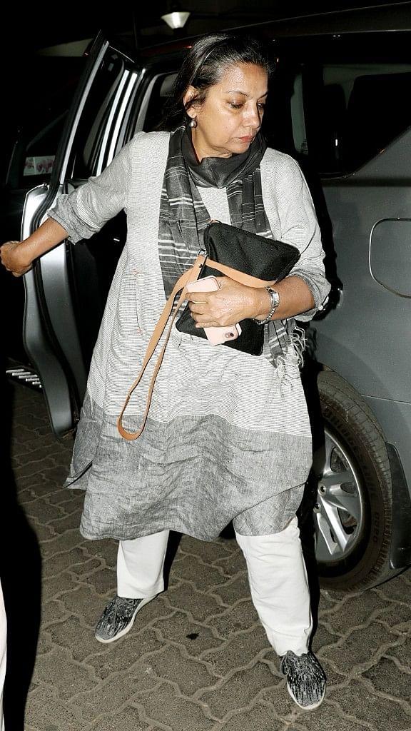 Actor Shabana Azmi spotted outside Anil Kapoor's house on Sunday evening.