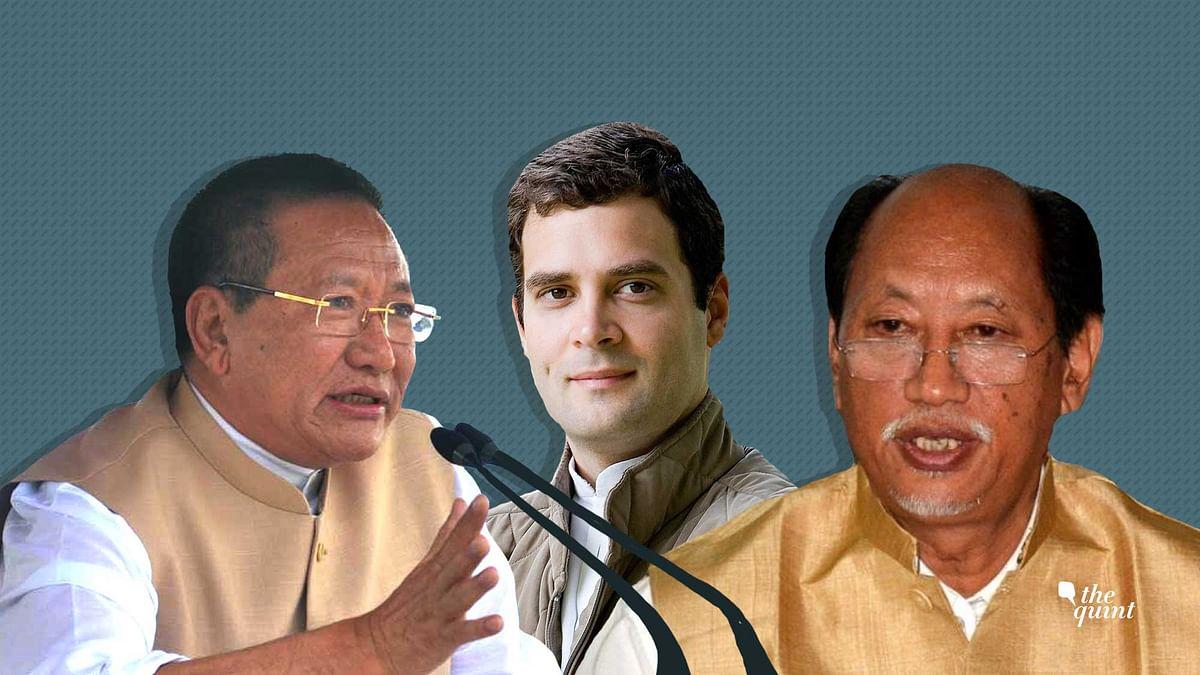 Incumbent Chief Minister of Nagaland TR Zeliang, Congress President Rahul Gandhi, and NDPP founder Neiphiu Rio.