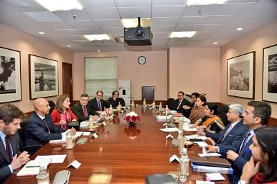 New Delhi: External Affairs Minister Sushma Swaraj during a meeting with her Canadian counterpart Chrystia Freeland in New Delhi on Feb 22, 2018. (Photo: IANS/MEA)