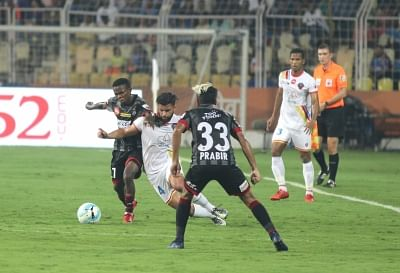 Margao: Players in action during an ISL match between ATK and FC Goa at Pt Jawaharlal Nehru Stadium in Fatodra, Margao of Goa, on Feb 28, 2018. (Photo: IANS)