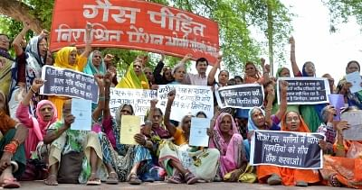 The survivors of Bhopal Gas tragedy stage a demonstration to press for their various demands in Bhopal. (Photo: IANS)