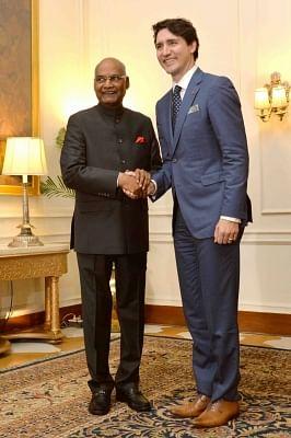 New Delhi: Canadian Prime Minister Justin Trudeau calls on President Ram Nath Kovind at Rashtrapati Bhavan in New Delhion Feb 23, 2018. (Photo: IANS/RB)