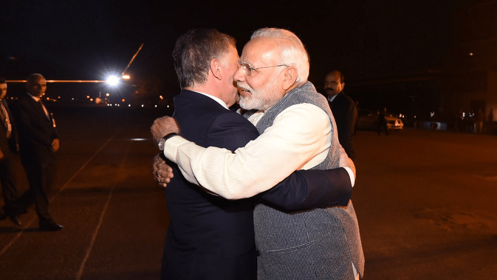 King Abdullah II bin Al-Hussein was accorded a grand welcome in India with Prime Minister Narendra Modi receiving him at the airport, in a special gesture.