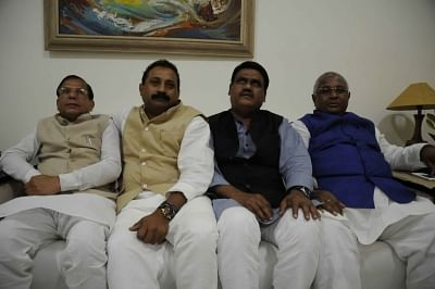 Patna: Congress MLCs Ashok Chaudhary, Dilip Chaudhary , Ramchandra Bharti and Tanveer Akhtar  who have been suspended by the party in Patna on Feb 28, 2018. (Photo: IANS)