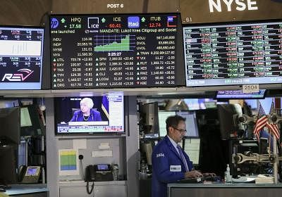 US stocks trade higher after economic data. (Xinhua/Wang Ying/IANS)