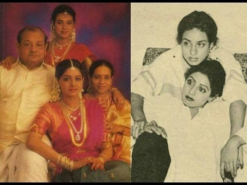Sridevi with her parents and sister (L); Sridevi with her sister Srilatha (R).