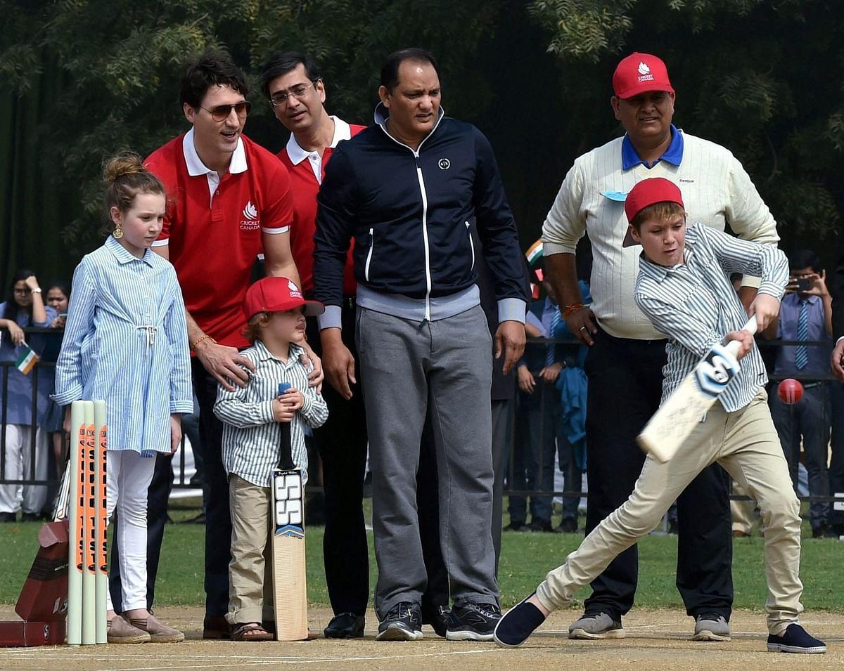 Watch: Canada PM Trudeau Plays Cricket With Kapil Dev, Azharuddin
