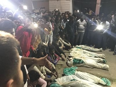 Muzaffarpur: Bodies of those killed in a accident after a Mahindra Bolero that lost control and rammed into a government school building crushing 9 kids to death and injuring 24 at Ahiyapur in Muzaffarpur of Bihar on Feb 24, 2018. (Photo: IANS)