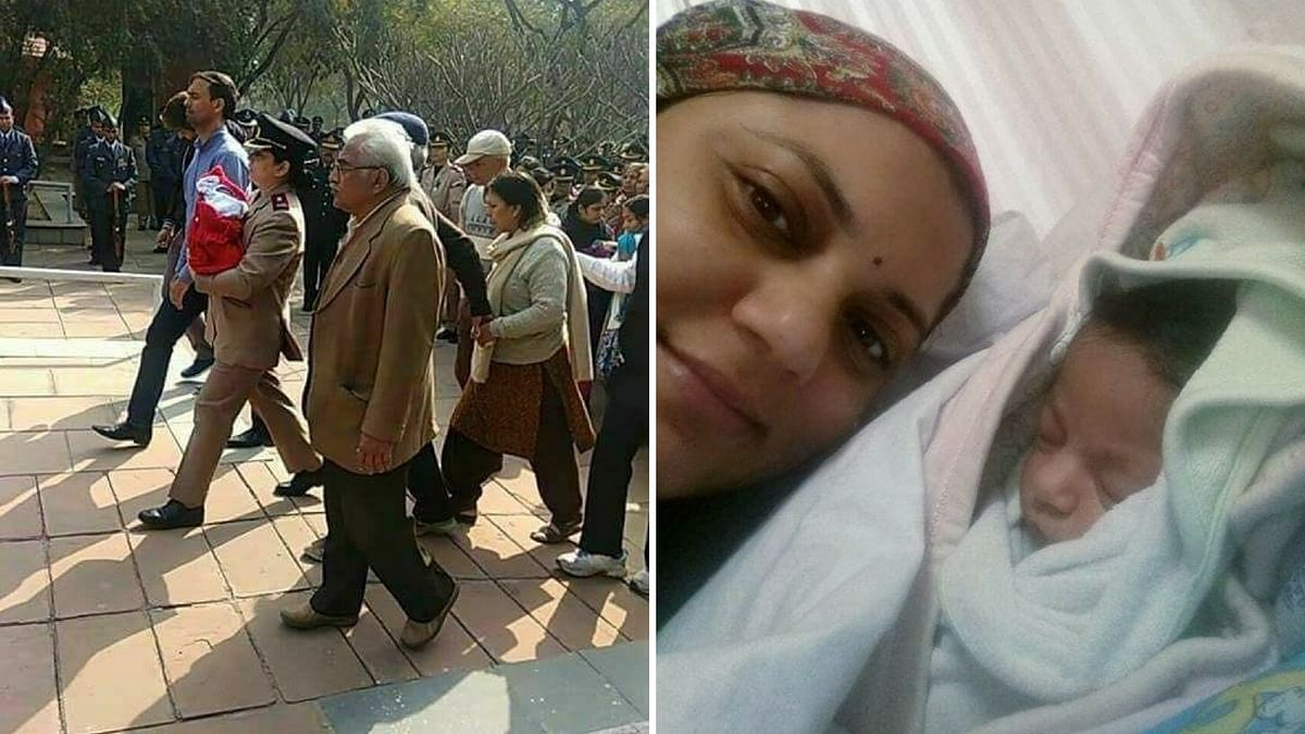 An image of the army officer, walking with her baby in her arms, to pay her last tributes to her husband is doing the rounds on social media.