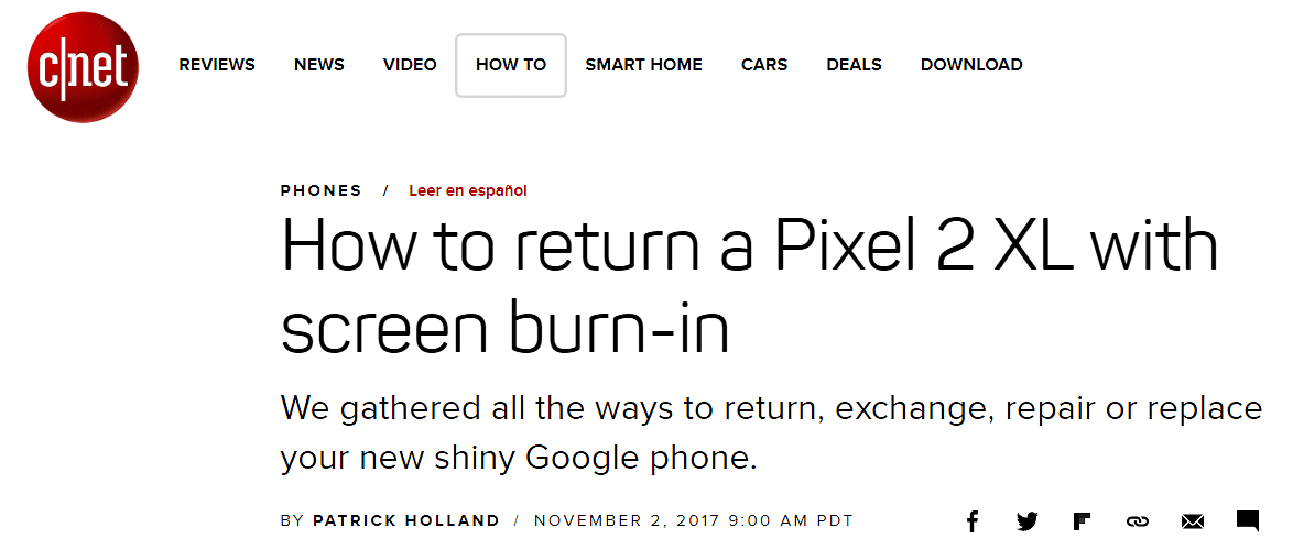 A headline discussing the widely reported problem on the Pixel 2 phones.