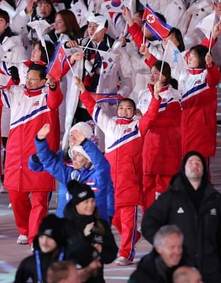 Pyeongchang: North Korean athletes enter Olympic Stadium in PyeongChang, the host city of the PyeongChang Olympics in Gangwon Province, on Feb. 25, 2018, during the closing ceremony.(Yonhap/IANS)