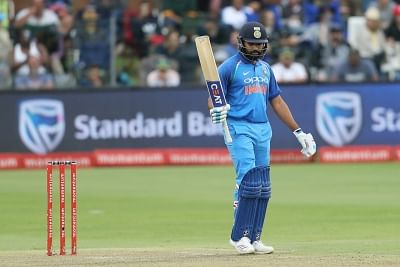 Port Elizabeth: Rohit Sharma of India celebrates his century during the 5th ODI between India and South Africa at the St George