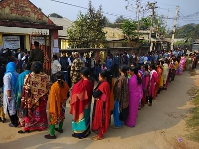 Agartala: People wait in queues to cast their votes during Tripura Assembly elections in Agartala on Feb 18, 2018. (Photo: IANS)