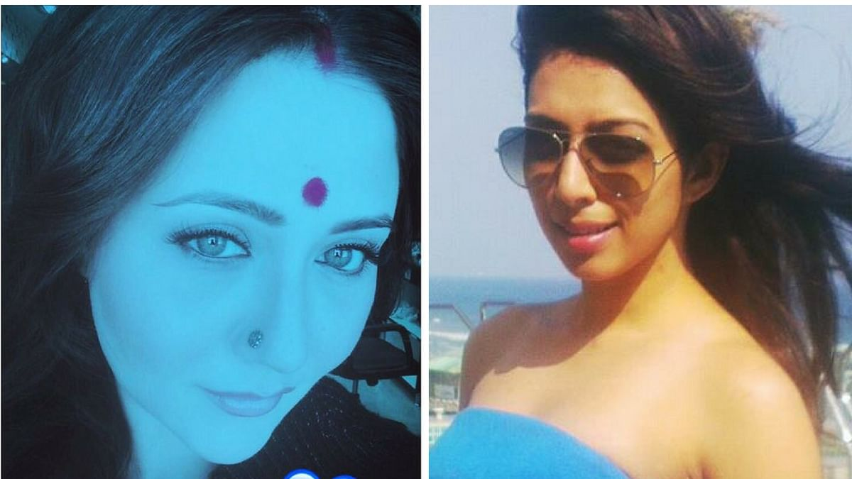 A blue-coloured selfie of Swastika Mukherjee and picture of late actor Sonika Chauhan.