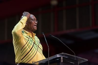 NEW YORK, Feb. 14, 2018 (Xinhua) -- File photo taken on Dec. 16, 2017 shows that South African President Jacob Zuma addresses the conference in Johannesburg, South Africa. South African President Jacob Zuma declared his resignation when addressing the nation on Feb. 14, 2018. (Xinhua/David Naicker/IANS)