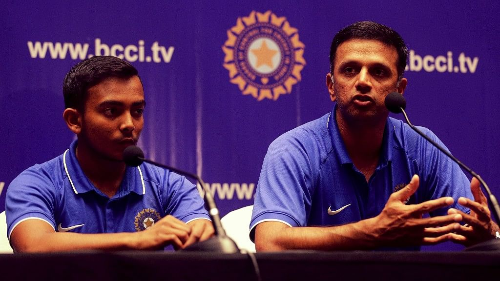 Coach Rahul Dravid addressed the media after winning the Under-19 World Cup.<a></a>