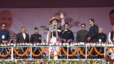 Itanagar: Prime Minister Narendra Modi with Arunachal Pradesh Governor Brigadier (Retd.).