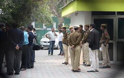 New Delhi: Policemen outside Delhi Chief Minister Arvind Kejriwal