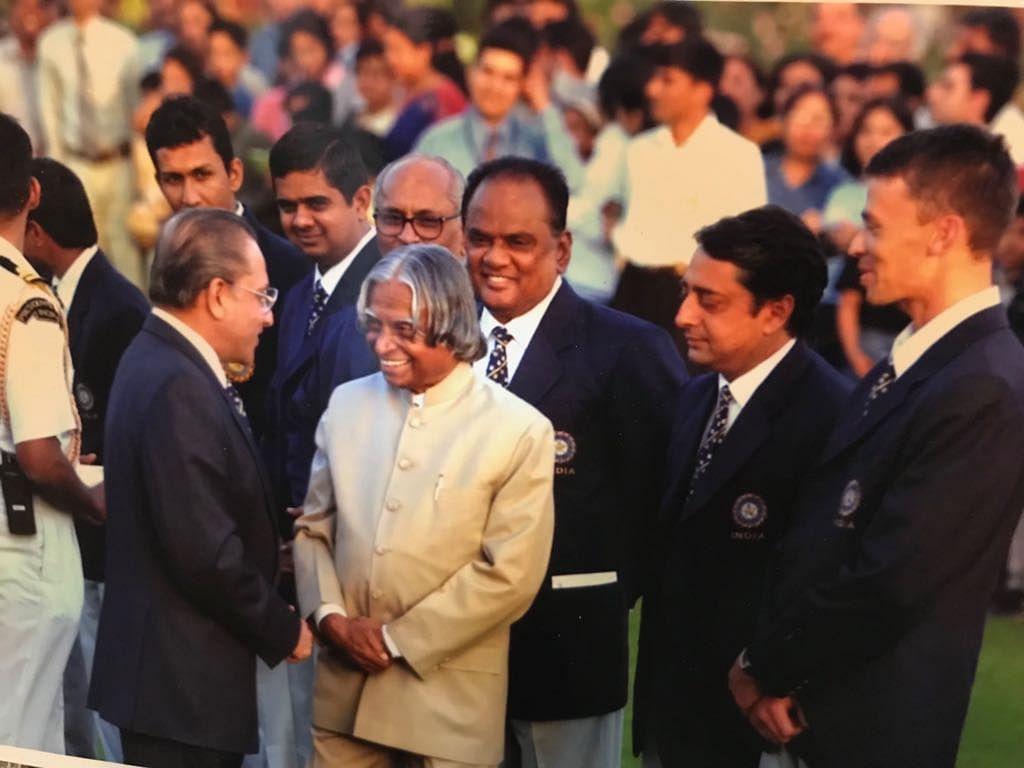 Jagmohan Dalmiya in conversation with former President APJ Abdul Kalam at the Rashtrapati Bhavan, as Amrit Mathur looks on.
