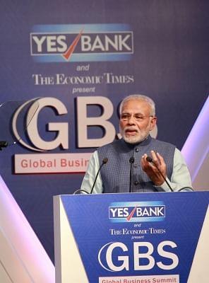 New Delhi: Prime Minister Narendra Modi addresses at the 4th Global Business Summit in New Delhi on Feb 23, 2018. (Photo: Amlan Paliwal/IANS)