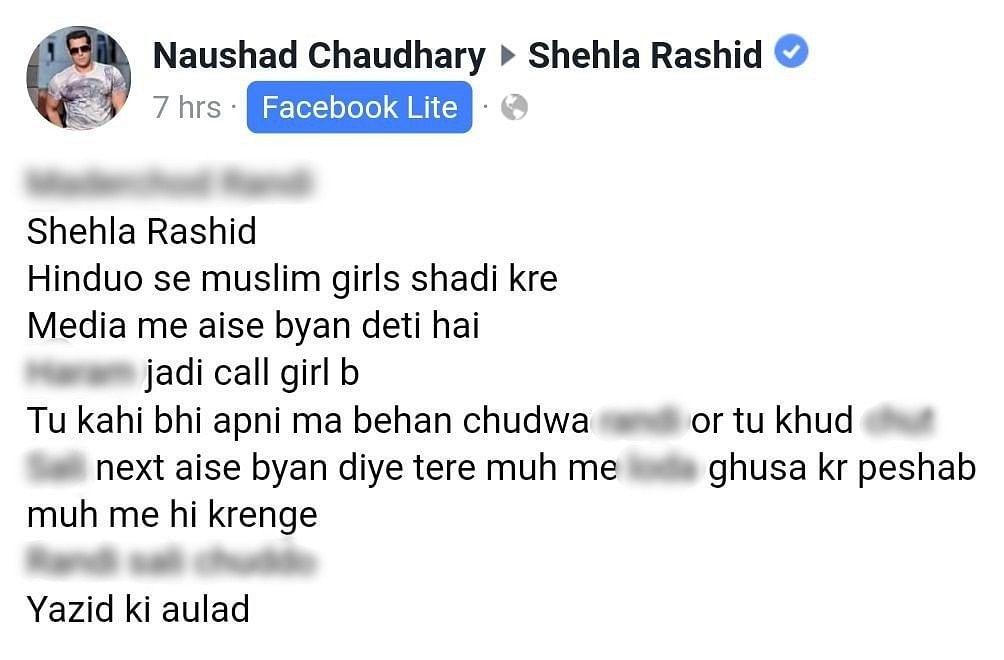 Shehla Rashid Speaks Up for Interfaith Love, Receives Rape Threats