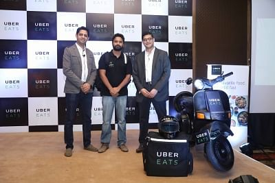 Gurugram: UberEATS India Head Bhavik Rathod and Delhi-NCR General Manager Faiz Abdulla during the launch of UberEATS service in Delhi and NCR; in Gurugram on June 28, 2017. (Photo: IANS)