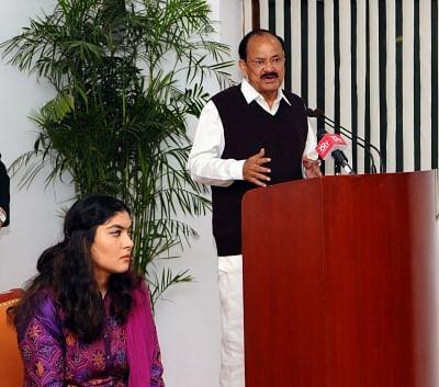 New Delhi: Vice President M Venkaiah Naidu addresses after releasing the Book