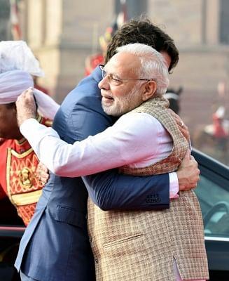 New Delhi: Prime Minister Narendra Modi welcomes the Prime Minister of Canada Justin Trudeau, at the Ceremonial Reception, at Rashtrapati Bhavan, in New Delhi on Feb 23, 2018. (Photo: IANS/PIB)