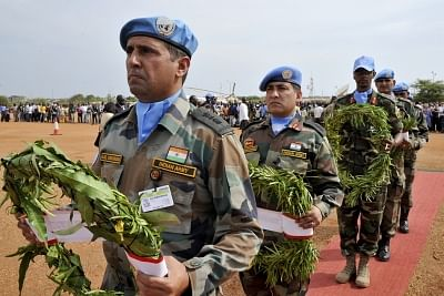 The United Nations Mission in South Sudan (UNMISS) holds a memorial ceremony in Juba for the five Indian peacekeepers who were killed when their convoy was ambushed in Jonglei State in April 2013. (Photo: UN/IANS)