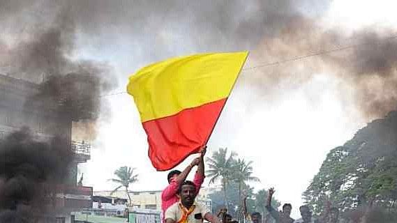 The proposed Karnataka flag will be yellow, white and red, with the state's emblem.