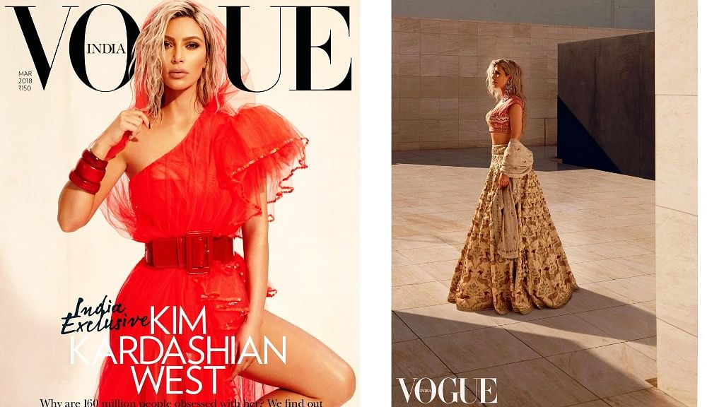 Kim Kardashian on Vogue India's March 2018 cover.