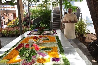 Puducherry: Prime Minister Narendra Modi during his visit to the Sri Aurobindo Ashram in Puducherry on Feb 25, 2018. (Photo: IANS/PIB)