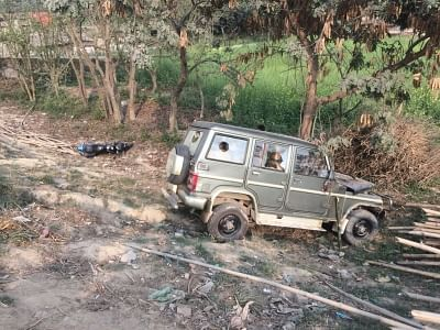 Muzaffarpur: A Mahindra Bolero that lost control and rammed into a government school building crushing 9 kids to death and injuring 24 at Ahiyapur in Muzaffarpur of Bihar on Feb 24, 2018. (Photo: IANS)