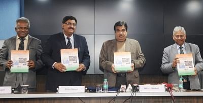 New Delhi: Union Road Transport and Highways Minister Nitin Gadkari along with CSIR DG Girish Sahni and other dignitaries releases the Indian Highway Capacity Manual (Indo-HCM) Research Project Report completed by CSIR-CRRI, in New Delhi on Feb 12, 2018. (Photo: IANS/PIB)