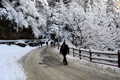 Shimla: A man walks down a snow clad road of Shimla. (Photo: IANS)