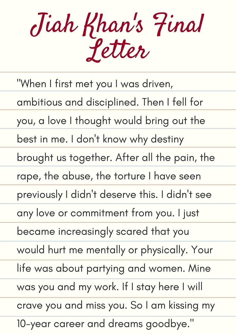 An excerpt from Jiah Khan's final letter found four days after she passed away.