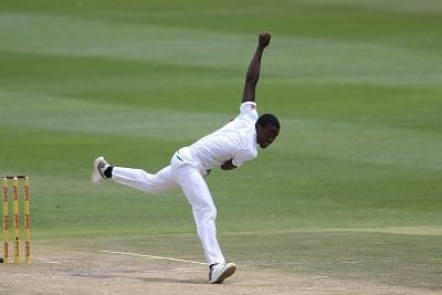 Johannesburg: Kagiso Rabada of South Africa in action during Day 3 of the third Test match between South Africa and India at the Wanderers Stadium in Johannesburg, South Africa on Jan 26, 2018. (Photo: BCCI/IANS) (Credit Mandatory)