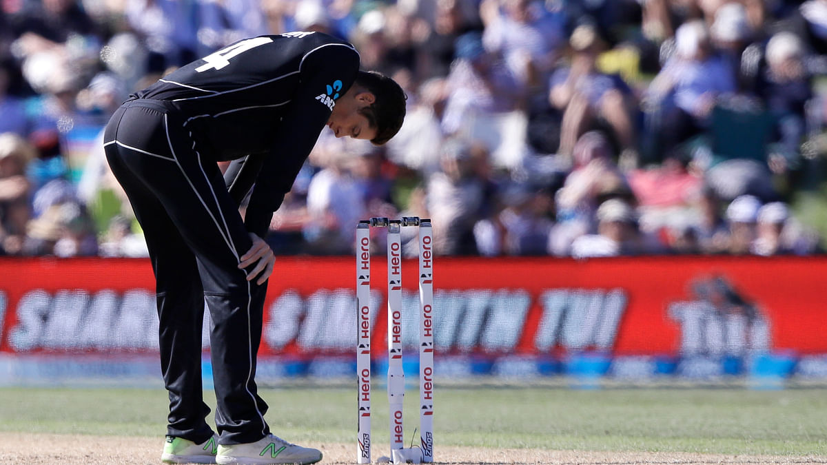 New Zealand's Mitchell Santner during a spell against England during their one day cricket international in Christchurch, New Zealand, Saturday, March 10, 2018.