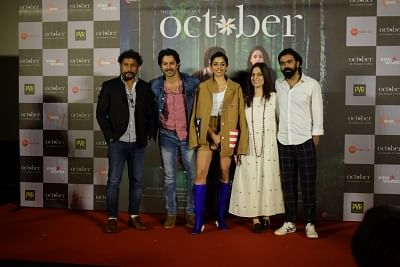 "Mumbai: Director Shoojit Sircar, actors Varun Dhawan, Banita Sandhu, screenplay writer Juhi Chaturvedi and producer Ronnie Lahiri at the trailer launch of their upcoming film ""October"" in Mumbai on March 12, 2018. (Photo: IANS)"