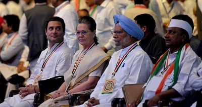 New Delhi: Congress leaders Rahul Gandhi, Sonia Gandhi, Manmohan Singh and A. K. Antony during the 84th plenary session of Indian National Congress at the Indira Gandhi Indoor Stadium in New Delhi on March 17, 2018. (Photo: IANS)