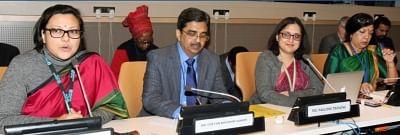 Subhalakshmi Nandi, UN Women India, from left, Chetan B. Sanghi, Joint Secretary in the Ministry of Women and Child Development, PaulomiTripathi, a First Secretary at India