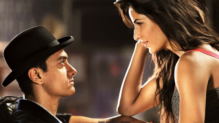 Aamir Khan and Katrina Kaif in a poster of<i> Dhoom 3</i>.